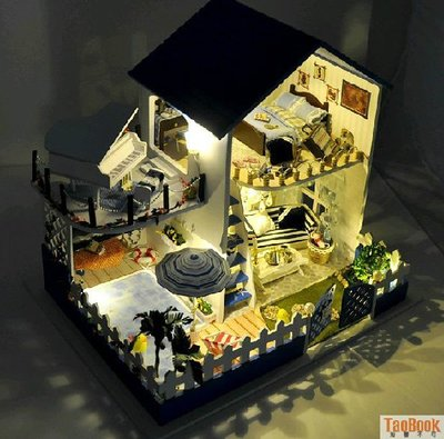 DIY小屋 藍調愛琴海手工拼裝房子模型 別墅玩具 創意生日禮物