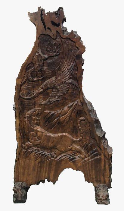 全新庫存家具買賣 二手家具買賣推薦 新竹地區免運 R11202*梢楠木雕刻屏風*滿千送百豐富商品喜悅生活