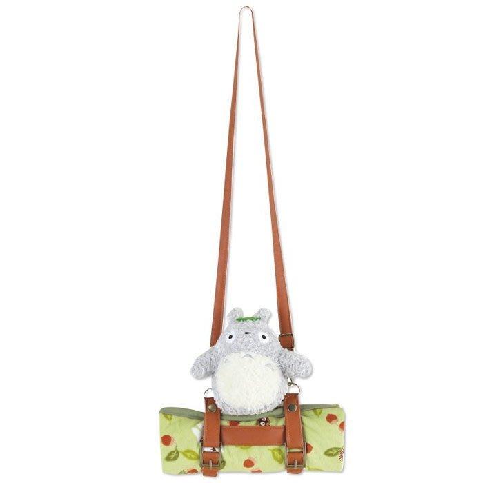 日本原裝進口 宮崎駿 TOTORO 龍貓 攜帶式 附收納 斜背 毯子 冷氣毯