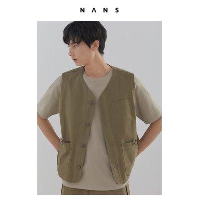 【NANS】磨毛多口袋工裝馬甲 / POCKET VEST - NS3B05