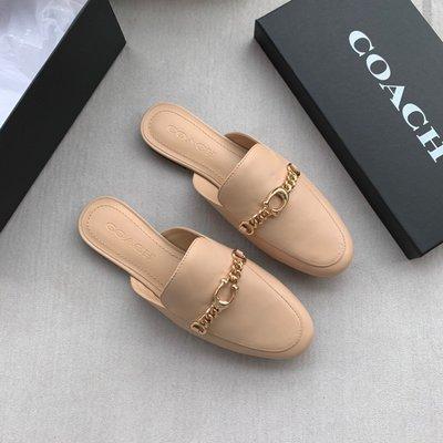 正品COACH/蔻馳奧萊款女士半拖穆勒鞋老花流蘇春夏百搭懶人鞋