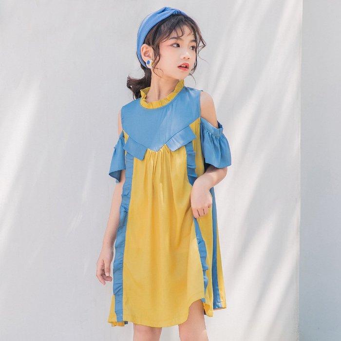 •*~ 辣媽咪衣飾小舖 ~*•❤童裝系列❤K970478韓版大童夏款甜美可愛浪漫露肩拼色荷葉邊公主裙洋裝