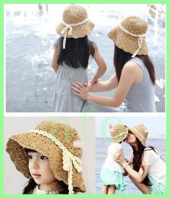 【針織貝殼帽】夏季爆款韓版兒童成人帽子可折疊手工草帽防曬遮陽漁夫帽親子帽太陽帽紫外線針織貝殼帽