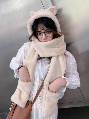 免運~~帽子女秋冬季甜美可愛冬天毛絨圍...