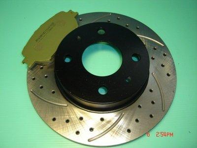 高硬度前劃線鑽孔碟盤+道路版來令片-TIERRA-MARCH-VIRAGE-SENTRA-LANCER