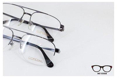 【My Eyes 瞳言瞳語】CORDIAL 頂級鈦紳士款 褐色/鐵灰色雙槓飛官款半框眼鏡 經典不敗 日本製 (207)