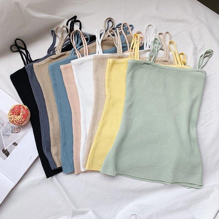 夏裝新款2019韓版簡約修身純色冰絲針織吊帶女短款性感露肩無袖背  YPJ 衣品居