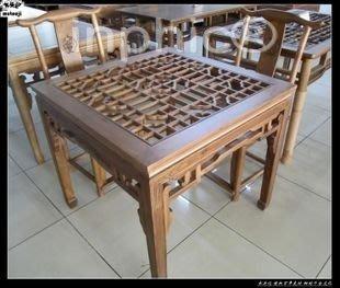 INPHIC-餐桌椅 組合 五件套 正方形 中式 仿舊 縷空 榆木 實木 家具