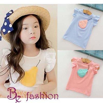 現貨--韓版女童鴨梨卡通飛袖T恤上衣 夏季短袖T恤衫上衣 Be Fashion 17126018