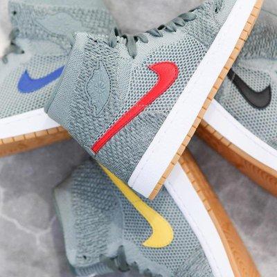 R'代購公司貨 Nike Air Jordan 1 Flyknit 編織 919704-333 藍 紅 黃 灰 黑 四色