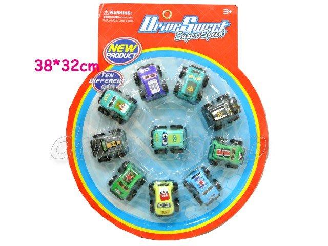 寶貝玩具屋二館☆【車車】小朋友超愛---卡裝10入大腳吉普車迴力車組