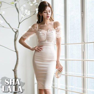 SHA LA LA 莎菈菈 韓版性感露肩吊帶拼接短袖荷葉邊包臀顯瘦連衣裙洋裝(S~XL)2019032210預購款