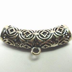 琥珀貓~【925純銀材料配件】大孔彎管帶圈~A0287~古錢串串~一個