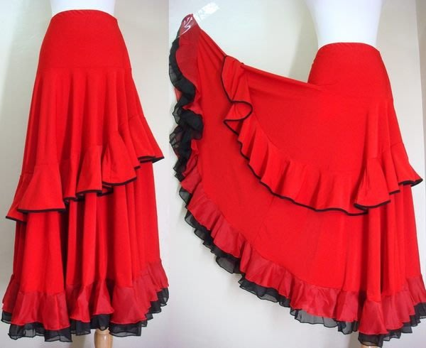 鴨米衣舖滾黑邊亮紅色佛朗明哥舞裙層次裙襬奶絲裙腰圍25-30吋