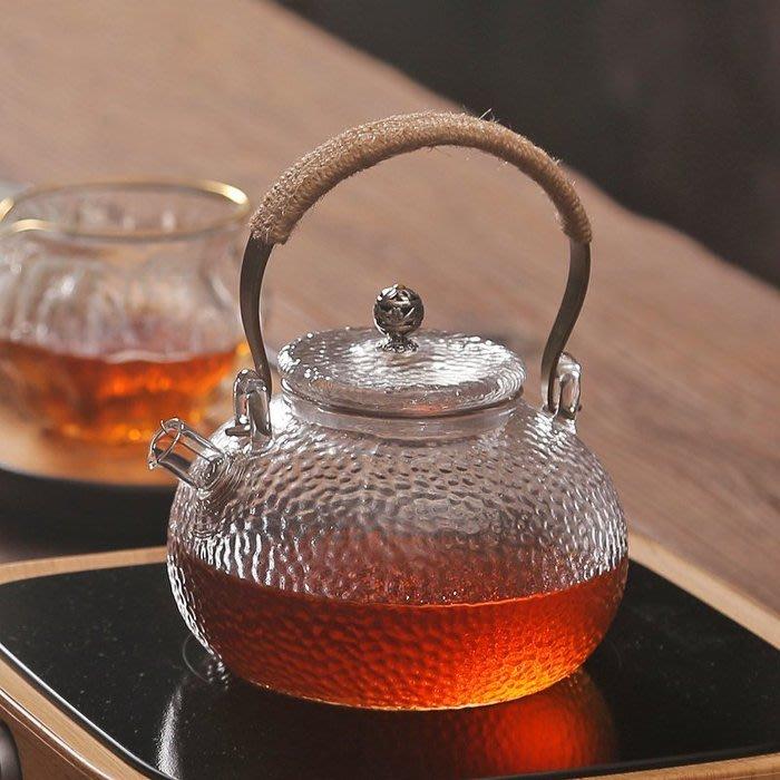 5C精選@耐高溫錘目紋提梁壺 加厚玻璃茶壺 透明家用功夫泡茶器