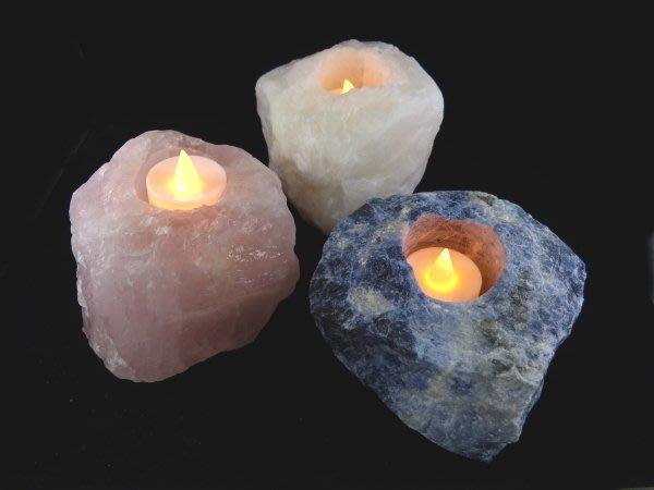 ☆寶峻晶石館☆新貨到~天然原礦燭台 粉晶/白水晶/藍紋石 《附贈LED蠟燭》居家氣氛裝飾