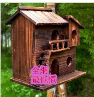 碳化防腐木鳥窩 木 鳥窩 鳥巢 鳥屋 裝飾 玩具鳥籠 美觀耐用