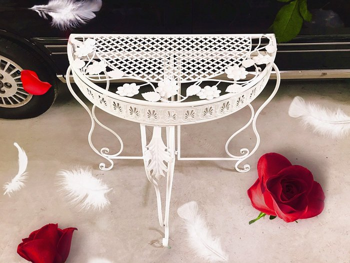 無折扣【華蕊】*鐵製古典半圓桌子*居家裝飾 花園造景 花園佈置 庭院佈置 婚禮佈置 會場佈置 花架 低價 促銷 出清