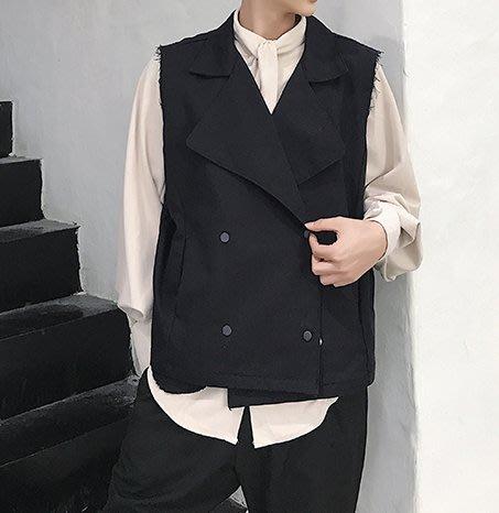 FINDSENSE H1 2018  男 新款 歐美 高端 毛邊純色 四季款 馬甲 時尚百搭背心外套 獨家款 潮上衣