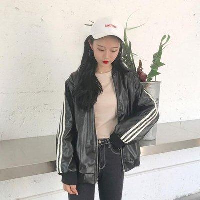 外套秋女2019新款休閒夾克女套百搭皮衣女生韓版寬鬆棒球服情侶裝