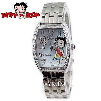 【JAYMIMI傑米】全新原廠公司貨 BETTY BOOP -貝蒂錶-不鏽鋼酒桶型時尚貝蒂 特價2150 藍色
