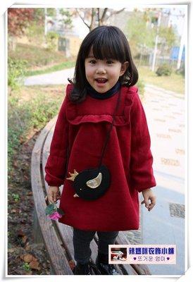 •*~ 辣媽咪衣飾小舖 ~*•❤童裝系列❤N950650韓版加厚毛呢加絨呢新年小鳥包包娃娃裙