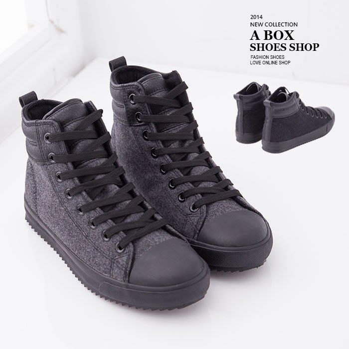 格子舖*【AH8303】帥氣潮流型男單品 質感毛呢拼接皮革 繫帶高筒帆布鞋休閒鞋 2色