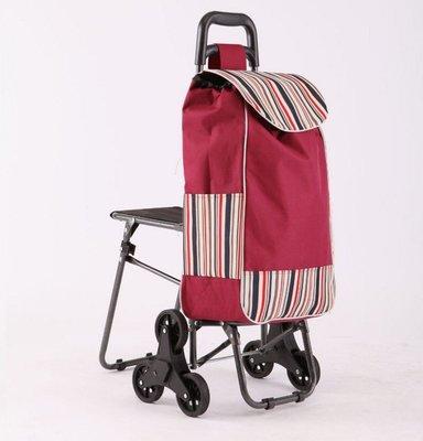 【帶凳六輪買菜籃車】小椅子 購物籃購物袋 拉桿買菜車 輕鬆爬梯車 三輪購物車 可爬樓梯 折疊手推車