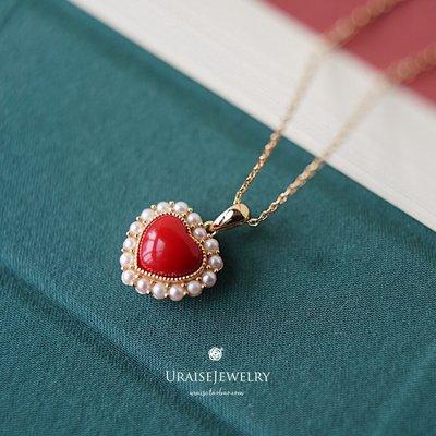 韓國Baby~惜福Cherish 小紅心銀鍍金愛心吊墜紅色樹脂圣誕新年禮物鎖骨項鍊
