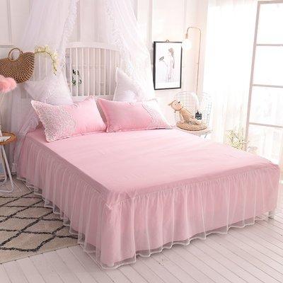 棉質蕾絲邊 床裙式單件雙人防滑床罩公主風夏季1.5米1.8m床保護套