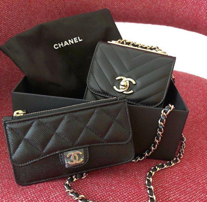 Chanel A81254 O Miscellaneous Boy 荔枝紋拉鍊卡片夾 黑銀釦