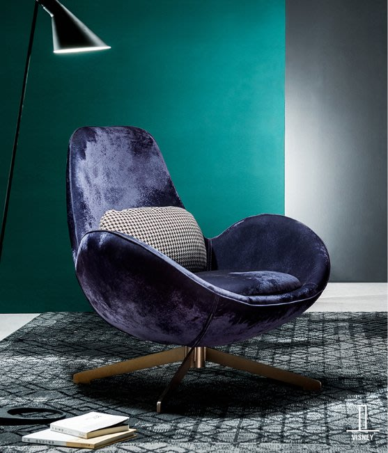 意式單人沙發椅現代簡約小戶型陽臺旋轉椅休閑椅家具TS新品