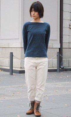 【一代目】備中倉敷工房 橫條紋 船型領 九分T恤 厚棉T ETERNAL DEEP BLUE 73560