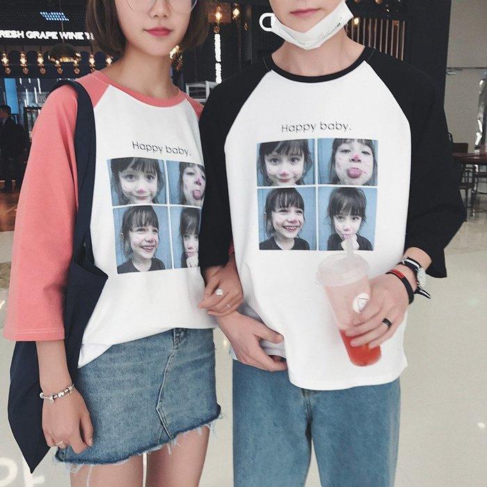 短袖T恤男情侶短袖t恤夏季潮流男體恤韓版寬松中袖五分袖男女學生打底衫T桖