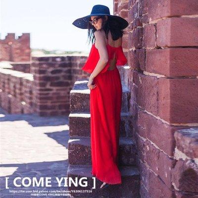 【COME YING】歐美渡假海灘必備.超美紅色 細肩吊帶鏤空露背寬褲/連身褲/長褲 白/黑/紅 $880