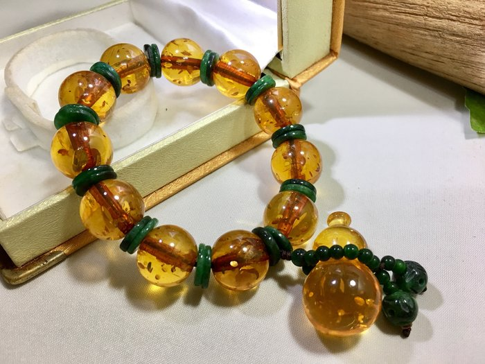 *藏雅軒*頂極精品-12mm圓珠-黃金琥珀葫蘆佛珠手鍊-34.4g