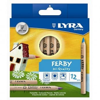 ~❤美國寶寶的衣櫥❤~(現貨)德國 LYRA 三角原木色鉛筆(12cm)12色