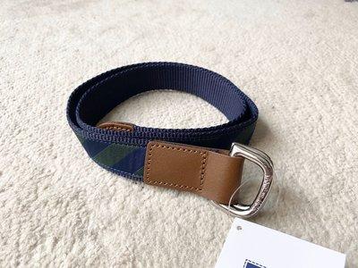 兒童扣環腰帶 - 藍綠斜紋