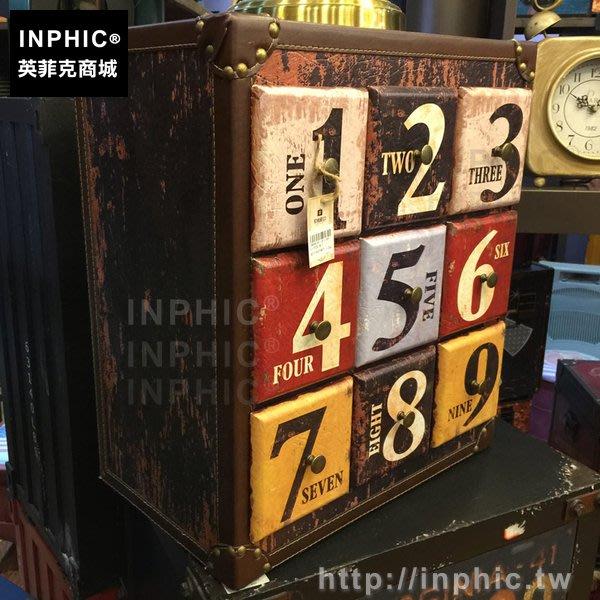 INPHIC-抽屜櫃做舊復古整理歐美皮革字母桌面收納櫃裝飾_k8cY