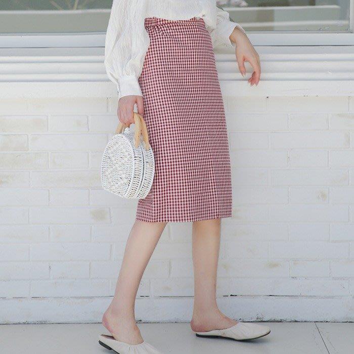 SeyeS 古著韓系時尚紅白小格紋顯瘦及膝裙