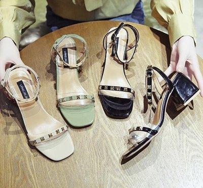 粗跟涼鞋女仙女的鞋中跟百搭羅馬鞋高跟鞋❣卡爾旗艦店