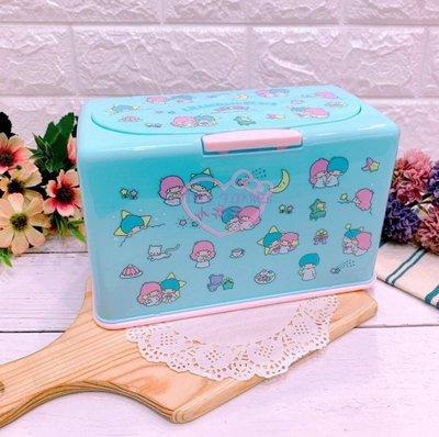 ♥小公主日本精品♥雙子星藍色KITTY滿版圖口罩收納盒收納箱彩色點點好按壓日本限定現貨
