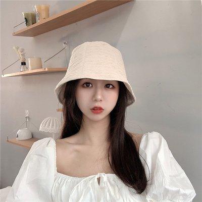 漁夫帽 盆帽-捲邊純色皺褶防曬女帽子2色73xu3[獨家進口][米蘭精品]