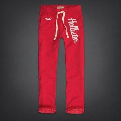Maple麋鹿小舖 Hollister Co * HCO 紅色貼布字母海鷗LOGO厚棉休閒長褲*( 現貨L號 )