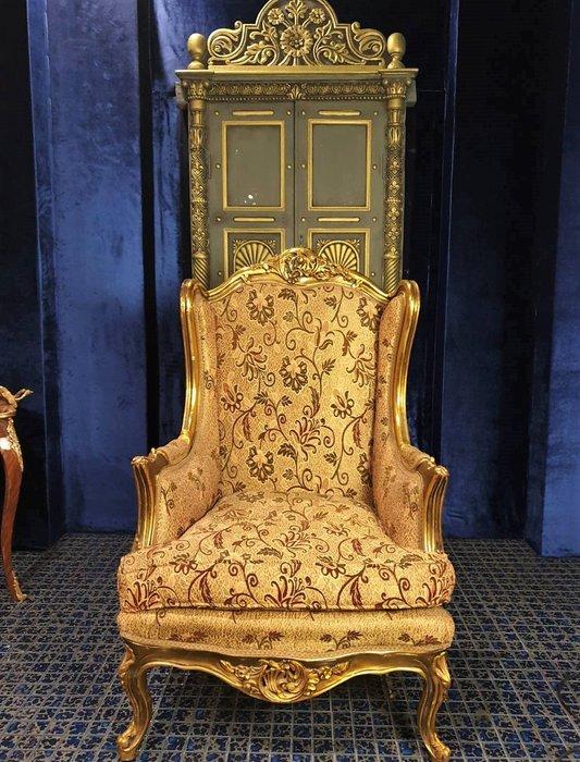 ⚜️ 皇家之門. 歐洲古董 ⚜️法國老件~ 高貴雅緻 木雕金箔 刷金 洛可可 單人沙發(有一對) ✬