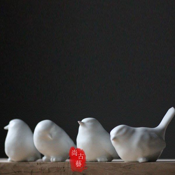 【尚古藝】陶瓷創意現代裝飾無光白釉小鳥喜鵲擺件
