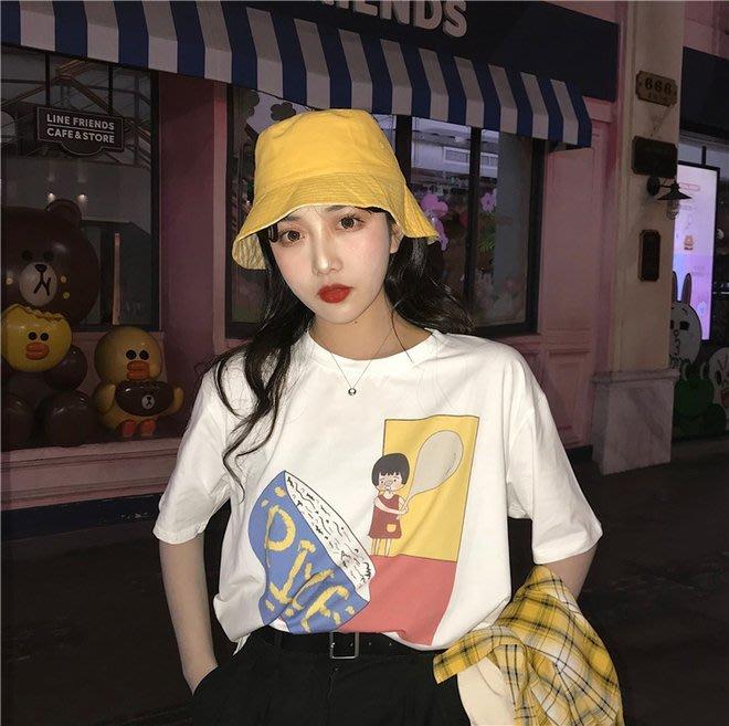 FINDSENSE G6 韓國時尚潮流 涂鸦白色T恤超火短袖T恤2019夏新款寬鬆圓領T恤百搭PIZZA打底衫