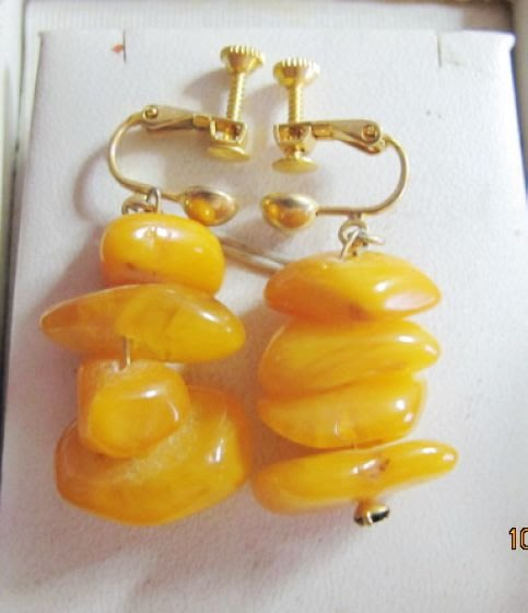 [一品軒2手商品]保證A貨.老原礦波羅的海蜜蠟K金夾式加長耳環.