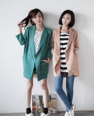 ☆Rock Lady☆轉賣Two Do 外套‧淡粉大人感UP‧極簡弧型袖配色西裝外套