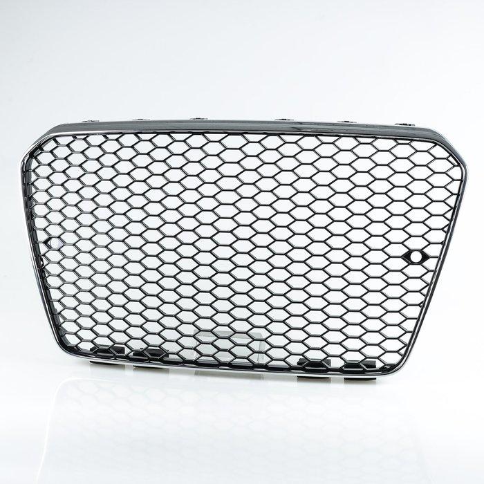 [鍍鉻+黑] RS5樣式 ABS水箱罩前格柵鼻頭 奧迪AUDI A5 S5 RS5用 2013-2016年式適用
